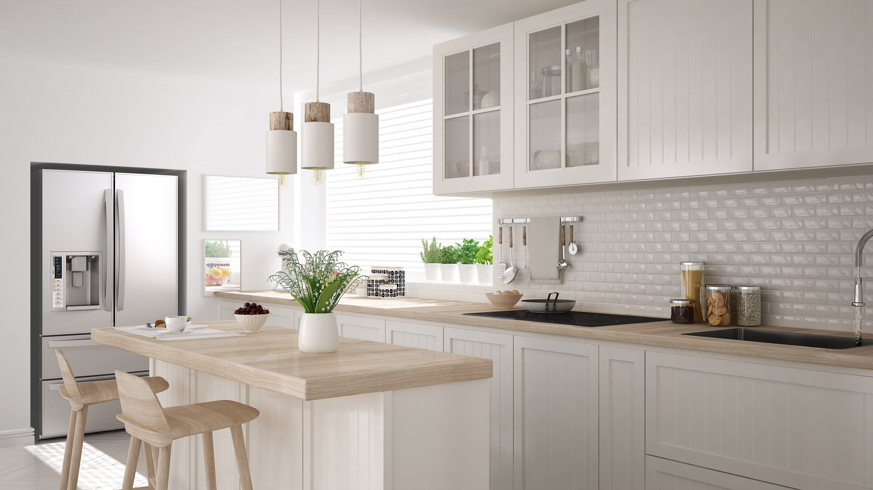 Scandinavian classic kitchen with wooden and white details, minimalistic interior design team logue