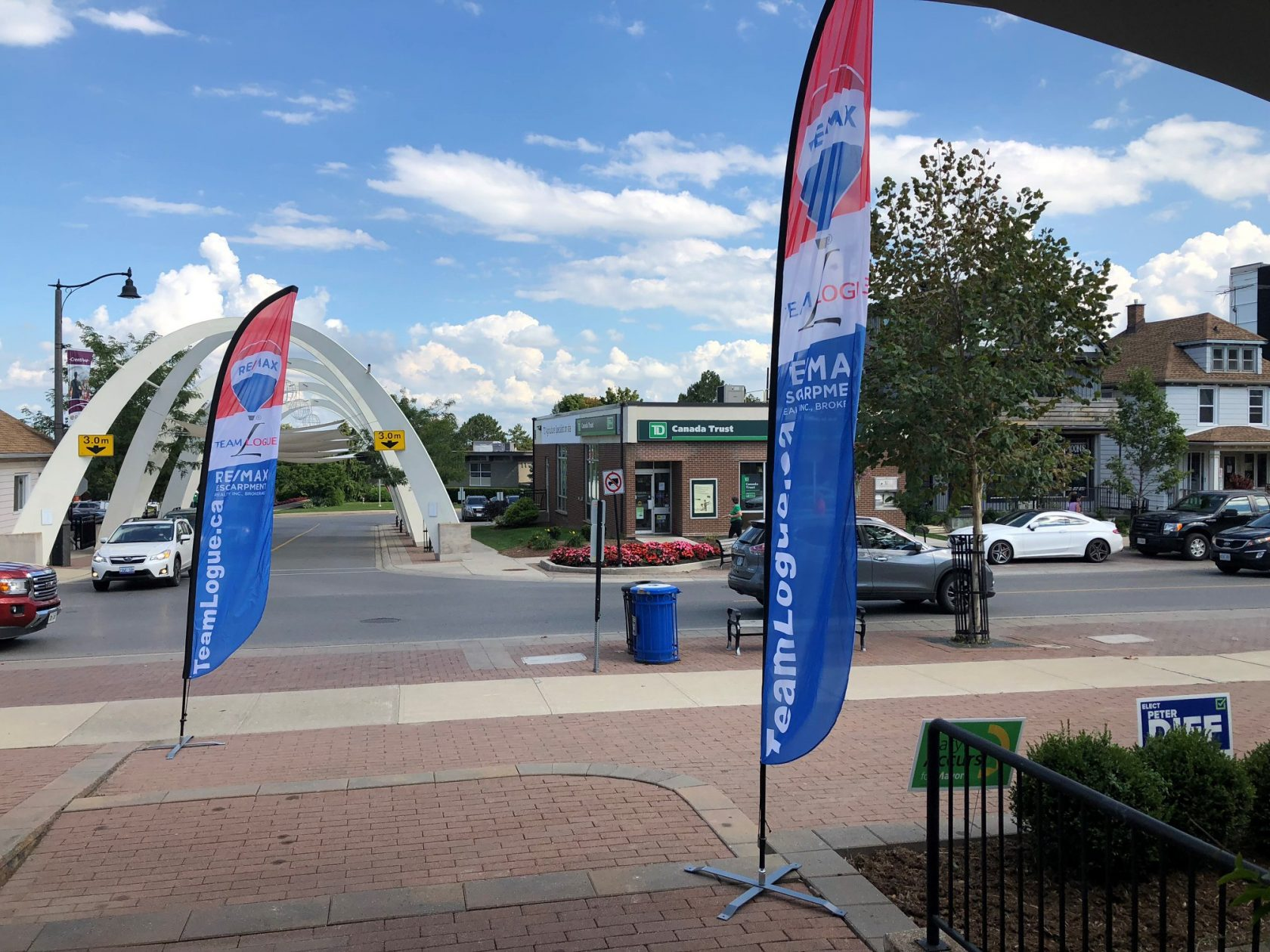 Team Logue banners outside the Colonnade open house | Team Logue Burlington Real Estate