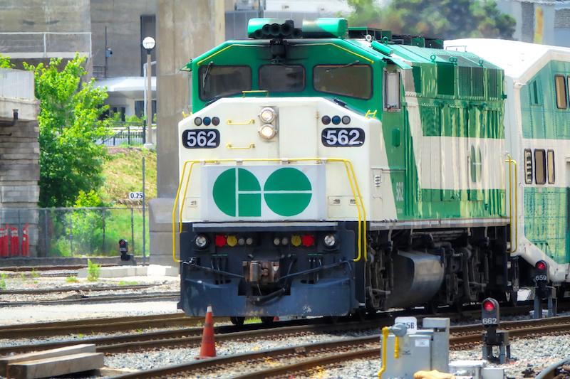 The GO train arriving in Burlington