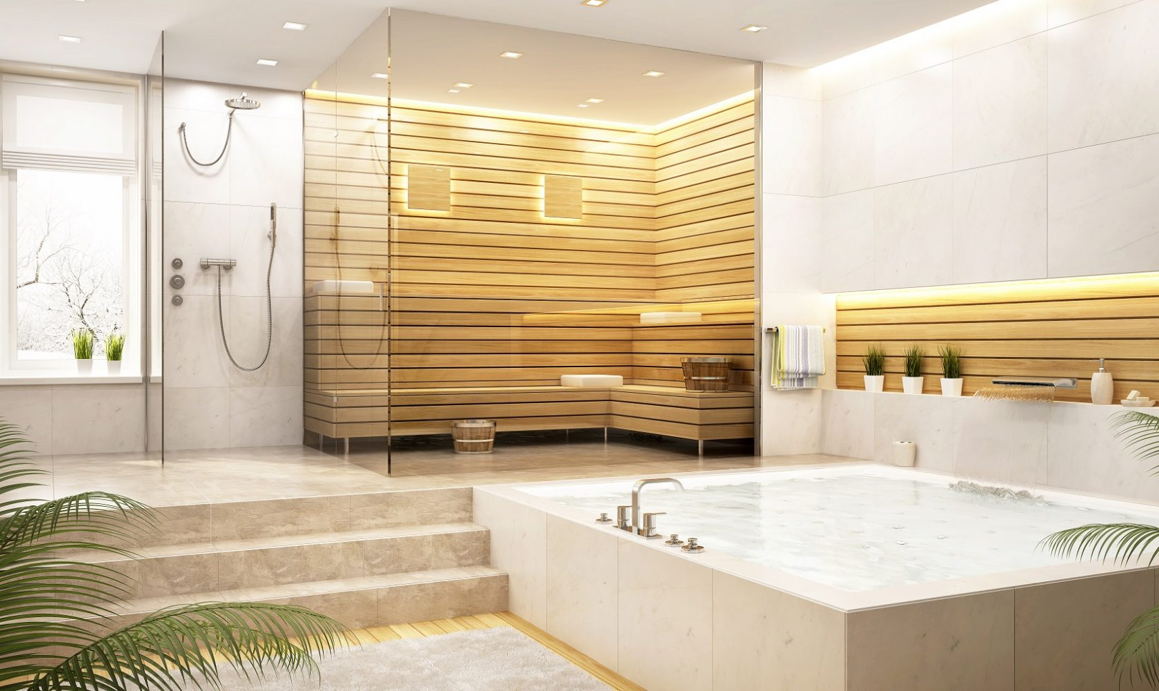 wooden steam shower wellness feature