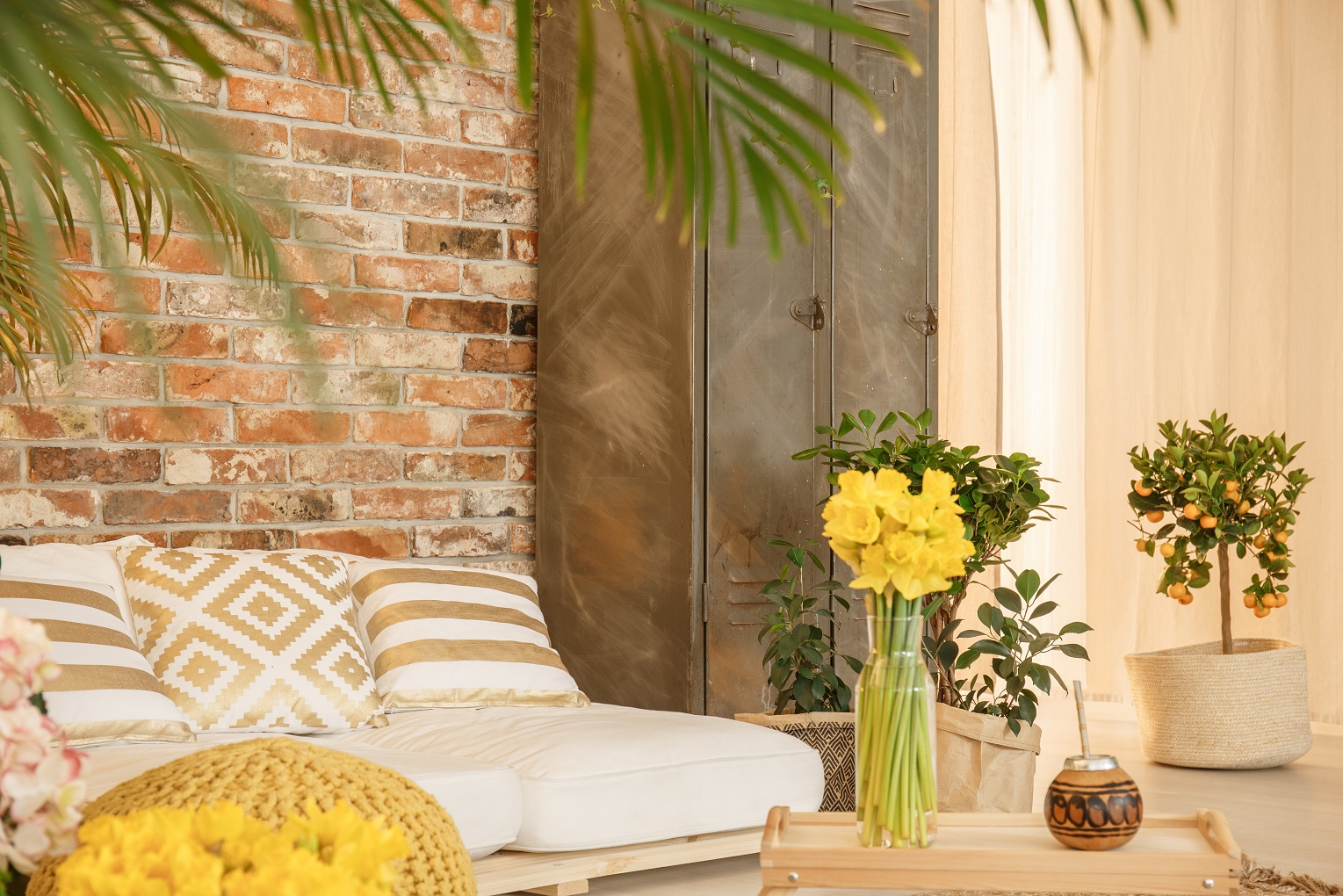indoor garden in room with brick wall wellness feature