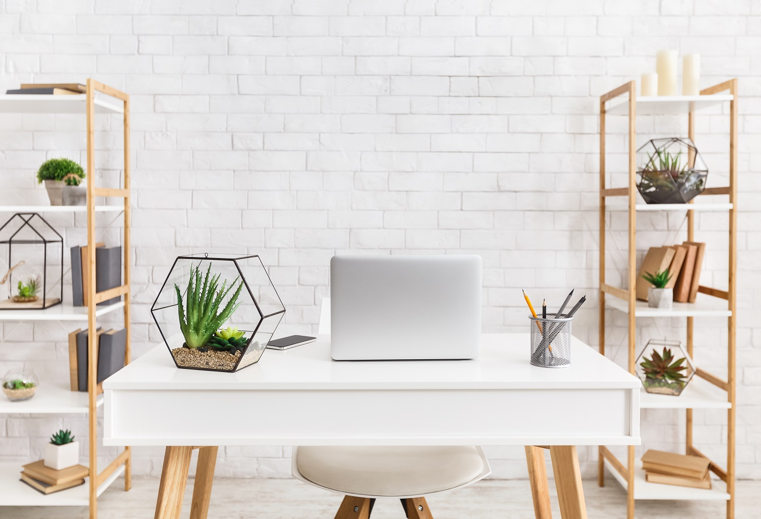 luxury home office ideas Scandinavian workplace. Laptop and florariums with succulent plants